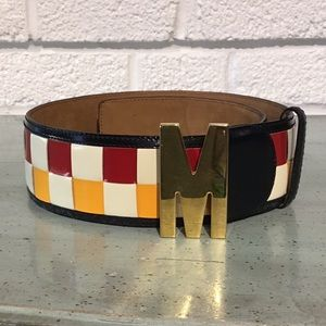 Moschino Checkered Woven Belt with M Buckle